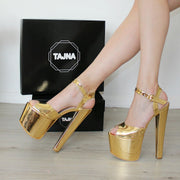 Gold Ankle Strap High Heel Platform Shoes - Tajna Club