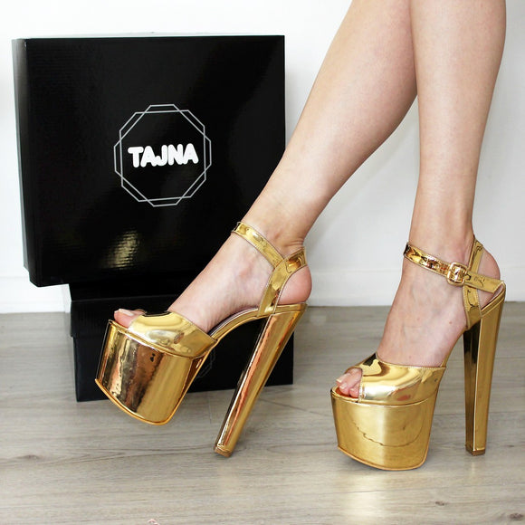 19-20 cm Gold Ankle Strap High Heel Platform Shoes - Tajna Club