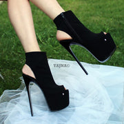 Black Peep Toe High Heeled Ankle Booties - Tajna Club