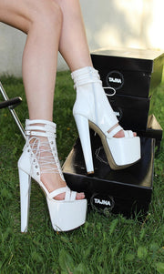 Lace Up White Patent 19 cm High Heel Booties - Tajna Club