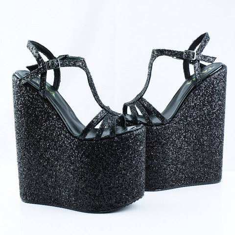 Black Shiny Wedge Sandals - Tajna Club