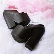 Black Peep Toe High Heel Wedge Platform Ankle Booties - Tajna Club