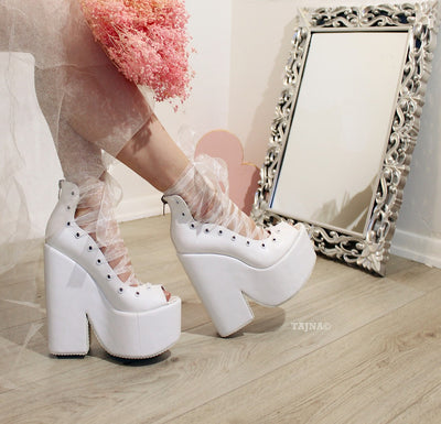 Lace up Ballerina Wedges White High Heel Platform - Tajna Club
