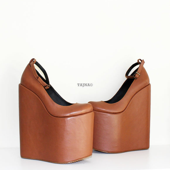 20 cm Tobacco Brown Ankle Strap Platform Wedges - Tajna Club