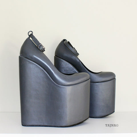 Dark Gray Ankle Strap Platform Wedges - Tajna Club