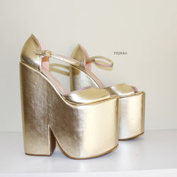 1fb8ed8cb0d4 Gold Peep Toe Ankle Strap Platform Wedges