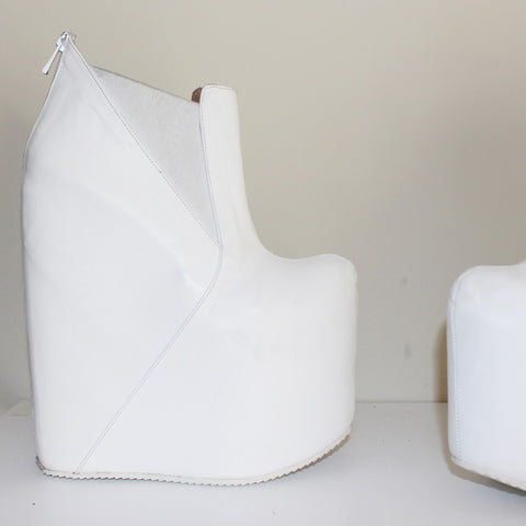 White Hidden Platform Ankle Wedge Booties - Tajna Club