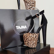 Ankle Strap Leopard Print Black Platform Shoes - Tajna Club