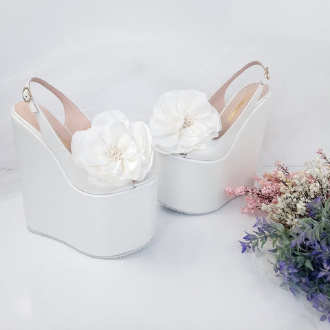 Peep Toe Huge Ribbon Bridal Wedge Shoes - Tajna Club