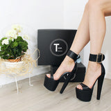 Belted Black Peep Toe Chunky Heel Platform Shoes - Tajna Club
