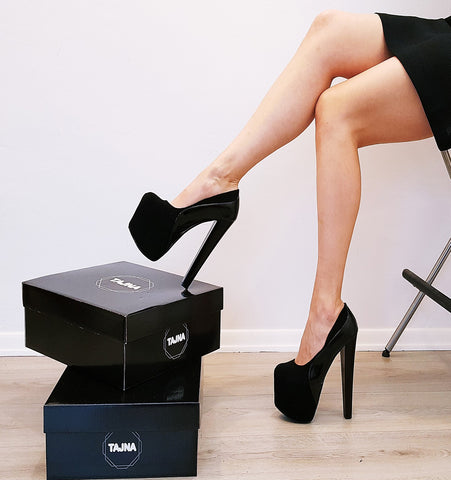 Black Suede & Patent High Heel Platform Shoes - Tajna Club