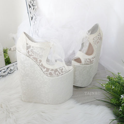 Lace 21 cm Platform Wedges Wedding Shoes - Tajna Club