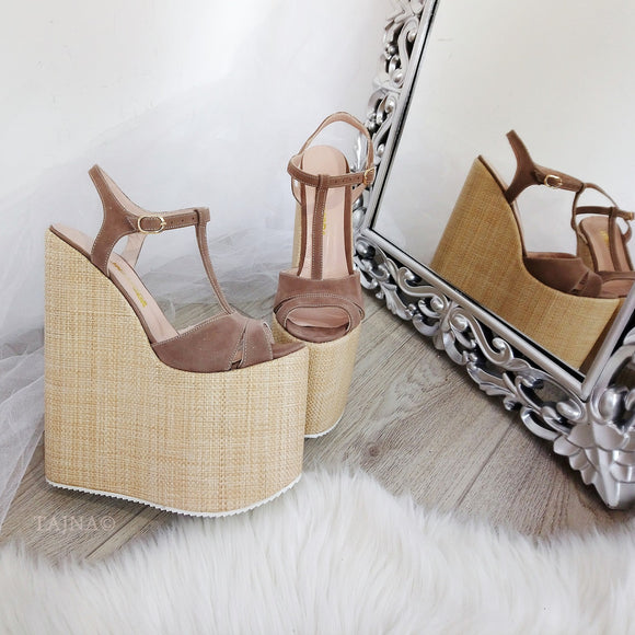 Ankle Strap Beige Brown High Heel Sandals - Tajna Club