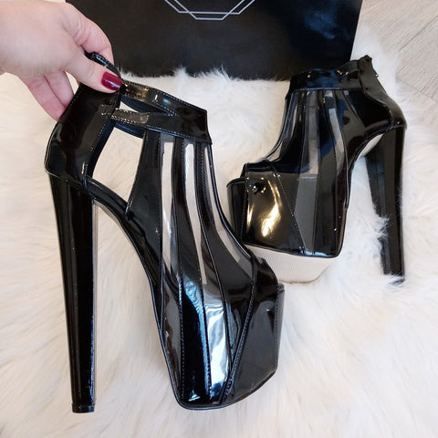 Transparent and Black Striped Super High Heels - Tajna Club