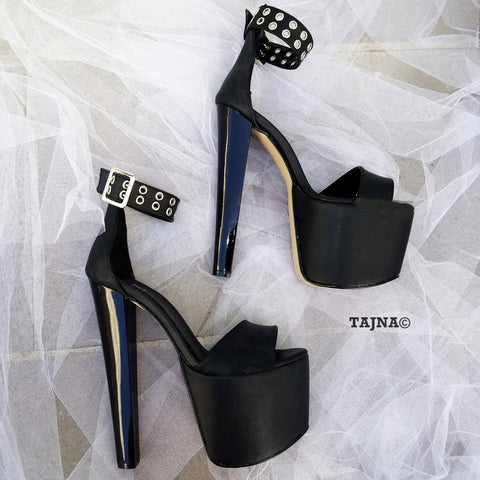 Black Belted Single Strap High Heel Platform Shoes - Tajna Club