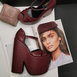 Burgundy Cross Strap Platform  Wedges - Tajna Club