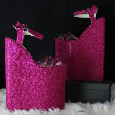 Dark Pink Shimmer Shiny 25 cm Wedges - Tajna Club