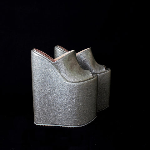 Silver Peep Toe 25 cm High Heel Wedge Mules - Tajna Club