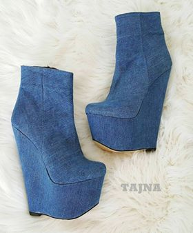 Denim Wedge Booties - Tajna Club