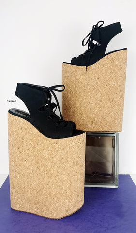 Black 30 cm High Heel Gladiator Wedges - Tajna Club