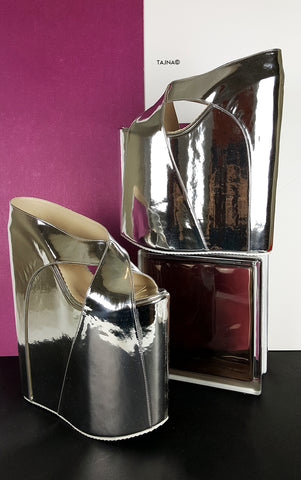 Silver Mirror 30 cm High Platform Wedge Mules - Tajna Club