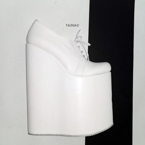 30 cm High Heel Wedge Shoes White - Tajna Club
