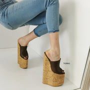 30 cm Extreme High Heel Cork Mules - Tajna Club