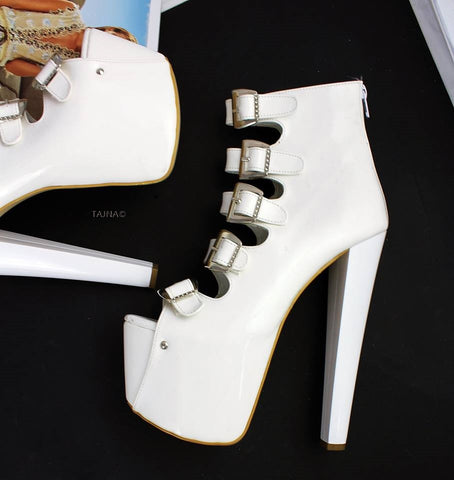 White Belted Peep Toe Ankle Booties - Tajna Club