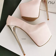 Powder Light Pink Metallic 19 cm High Heels - Tajna Club