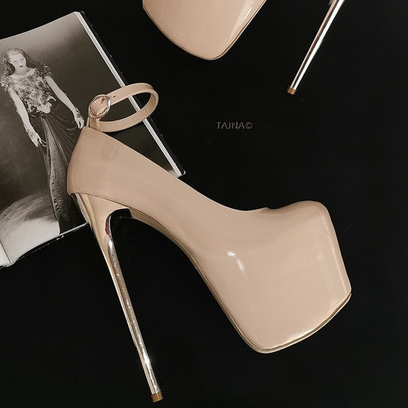 Nude Patent Metallic 19 cm High Heels - Tajna Club
