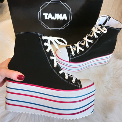 Lace Up Sport Wedge Platform Shoes - Tajna Club