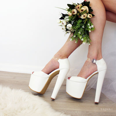 Transparent Strapped White Bridal Platforms - Tajna Club