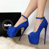 Blue Suede Peep Toe High Heel Platforms - Tajna Club