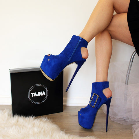 Parlament Blue High Heel Open Back Booties - Tajna Club