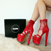 Red Lace-Up Ankle Strap Avantgarde Booties - Tajna Club