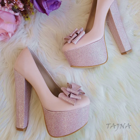 Light Pink Bridal Ribbon Platforms - Tajna Club