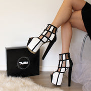 Black and White Caged Booties - Tajna Club