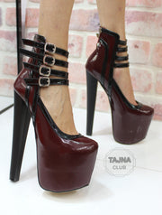 Bordeaux Multi-Strap Platform Pumps High Heel - Tajna Club