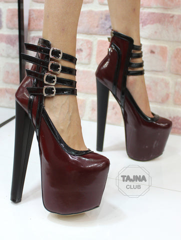 Bordeaux Multi-Strap Platform Pumps 20 cm High Heel - Tajna Club