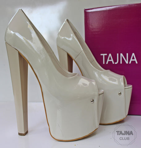 Cream Patent Platform  High Heel Pump Shoes - Tajna Club