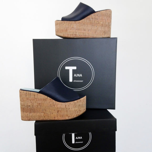 Dark Navy Blue Wedge Platform Mules - Tajna Club
