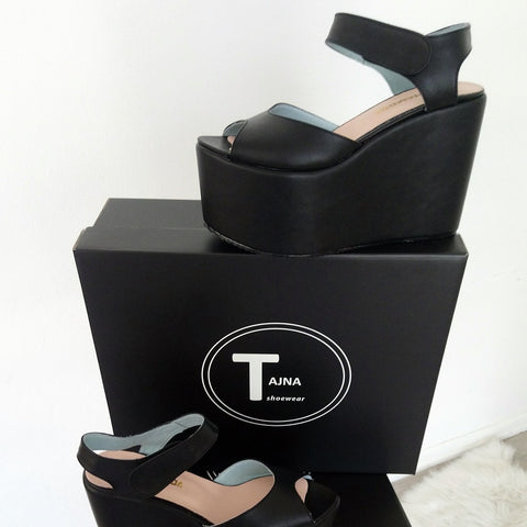 Black Ankle Strap Peep Toe Wedge Platform Sandals - Tajna Club