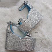 Ribbon Strap Silver High Heel Wedges - Tajna Club