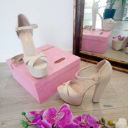 Nude Cream Cross Strap Chunky Platform Shoes - Tajna Club