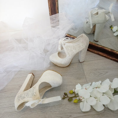 Bridal Lace Chunky Heel Platform Shoes - Tajna Club