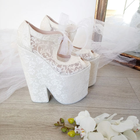 Full Lace Super High Heel Wedding Wedge Shoes - Tajna Club