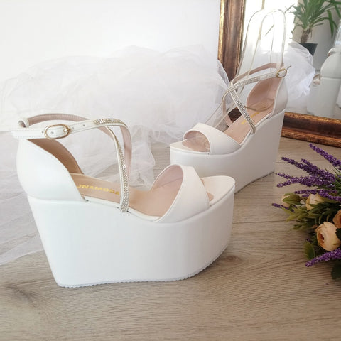 Bridal Collection White Wedge Platform Sandals - Tajna Club