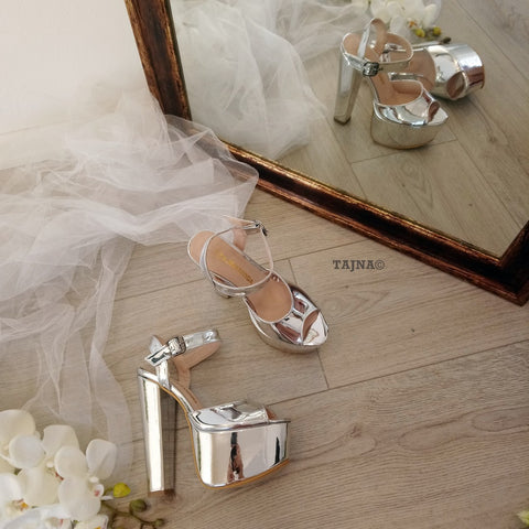 Silver Mirror Strap Summer Chunky Platform Shoes - Tajna Club