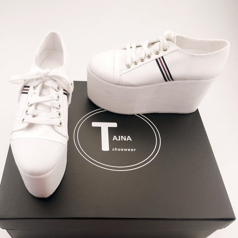 Lace Up White Sneakers Wedge Platform Shoes - Tajna Club
