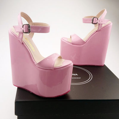 Ankle Strap Pink Platform High Heel Wedge Sandals - Tajna Club